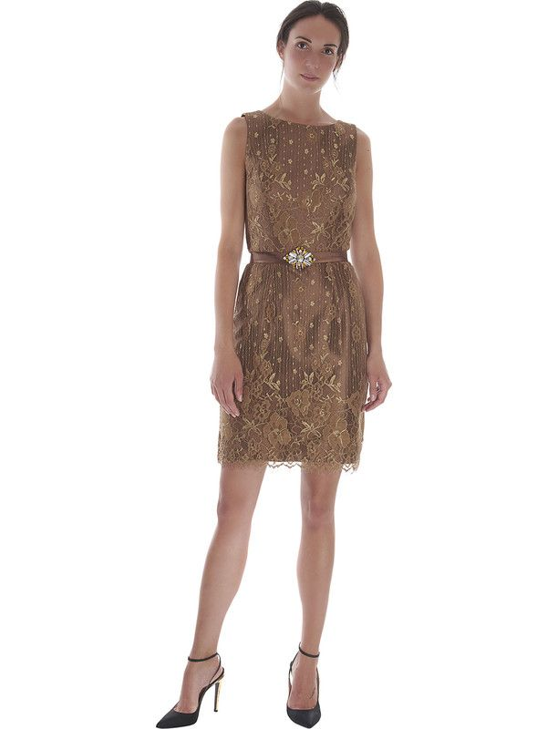 Elegant lace sheath dress with padded top and shawl by Pastore Couture