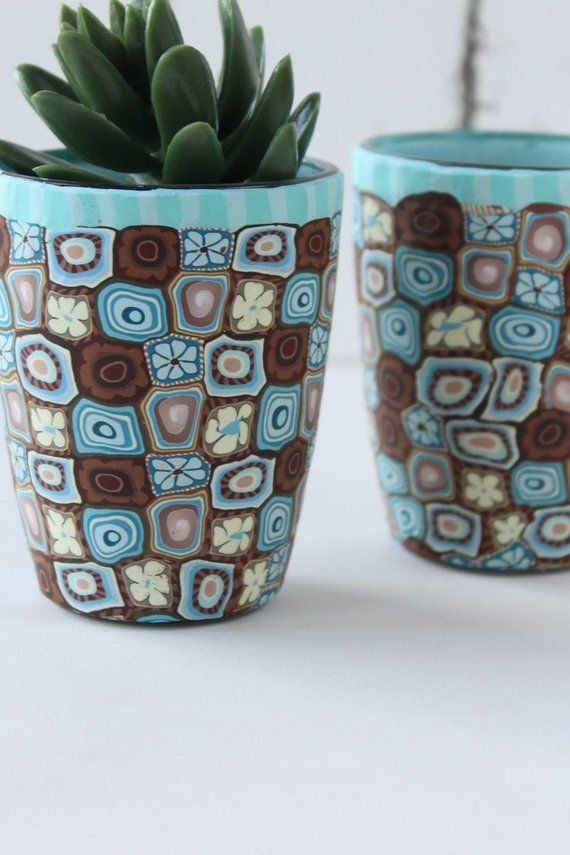 Set Of 2 Teal And Brown Succulent Indoor Planters Indoor Planters Clay Pot Crafts Blue Plants