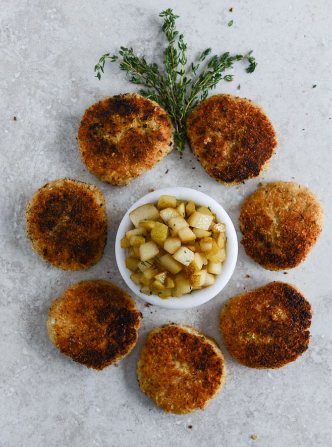 Crispy Goat Cheese Risotto Cakes with Vanilla Salted Winter Pears I howsweeteats.com @Jan Howard sweet eats