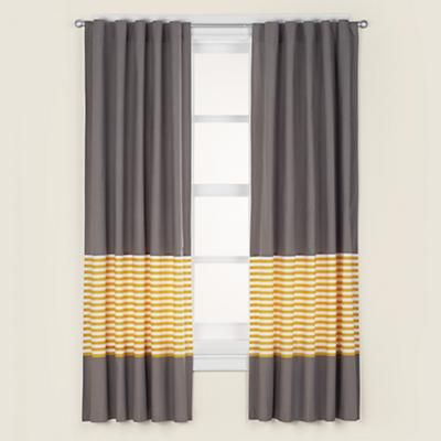 The Land of Nod | Kids' Curtains: Kids Grey & Yellow Curtain Panels in Curtains & Hardwares - would like these if the yellow were fuchsia instead.