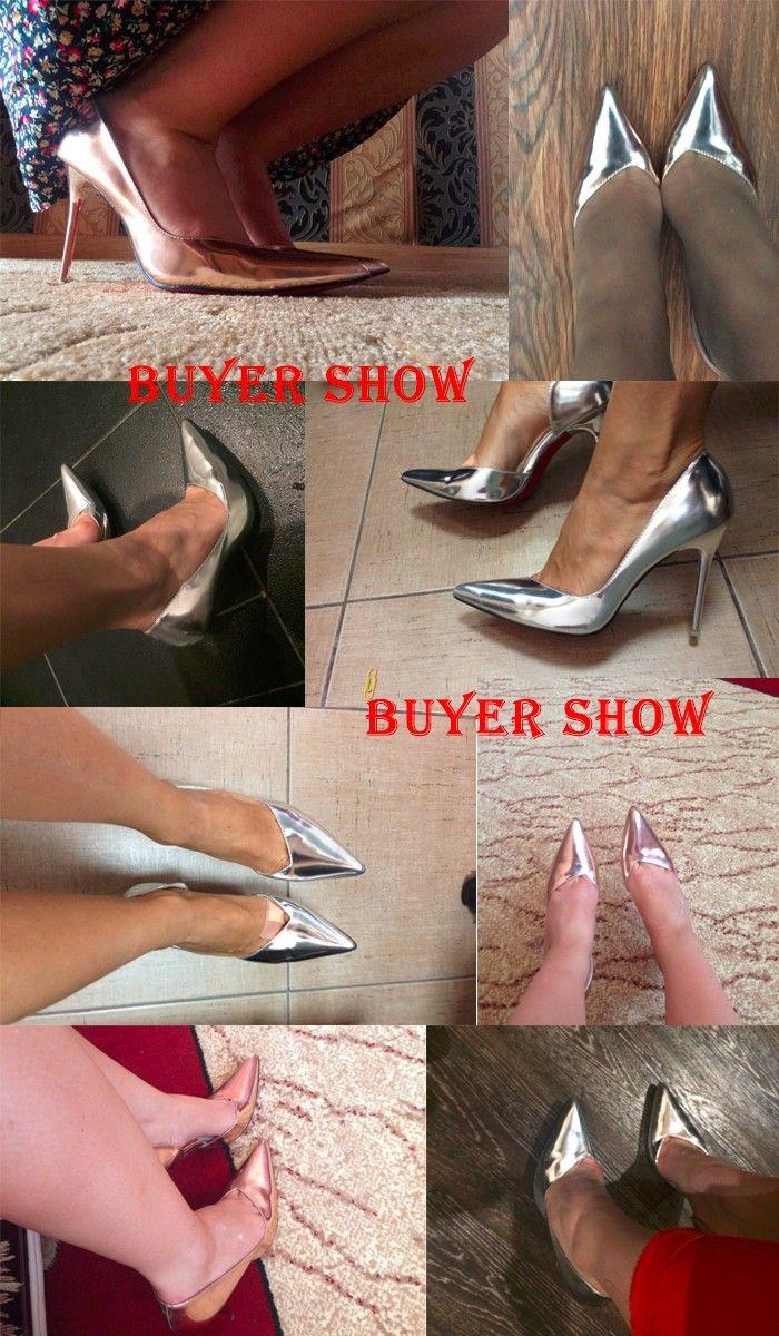 Новый 2016 серебряные каблуки свадебные туфли на шпильке высокие каблуки весна красный нижние указал ног пятки женщины ну вечеринку дамы нагнетает ботинки купить на AliExpress