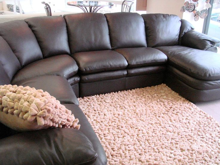 Shiny Leather Sectional For Sale