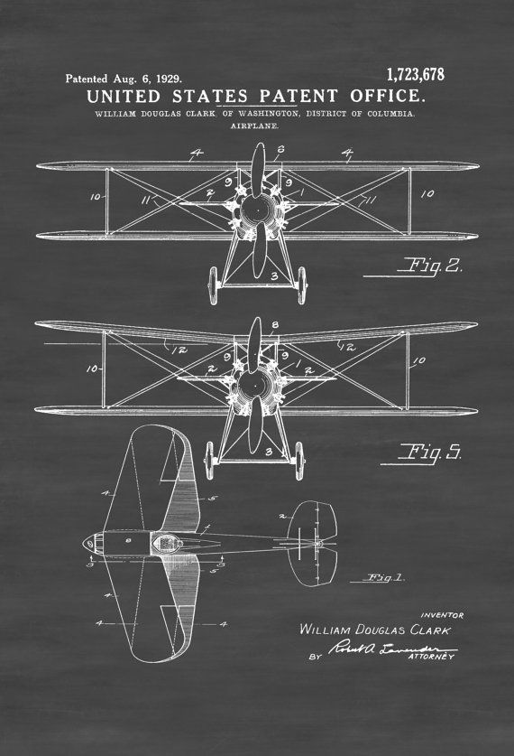 Biplane Patent Print - Vintage Airplane, Airplane Blueprint, Airplane Art, Pilot Gift, Aircraft Decor, Airplane Poster, Biplane Patent