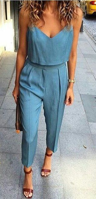 Denim jumpsuit and tan heels