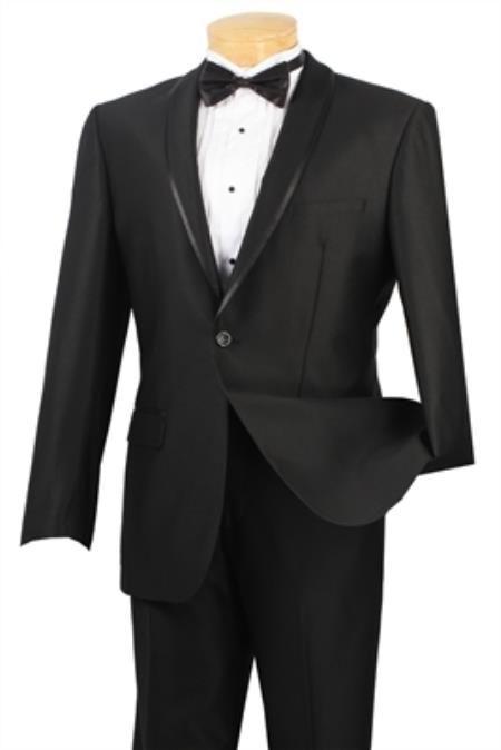 SKU#PN8521 Shawl collar Tapered Leg Lower rise Pants & Get skinny Black Mens Fashion Slim Fit Suit