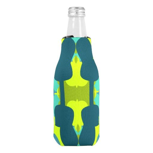 Abstract #guitars in green #bottle #cooler #zazzle