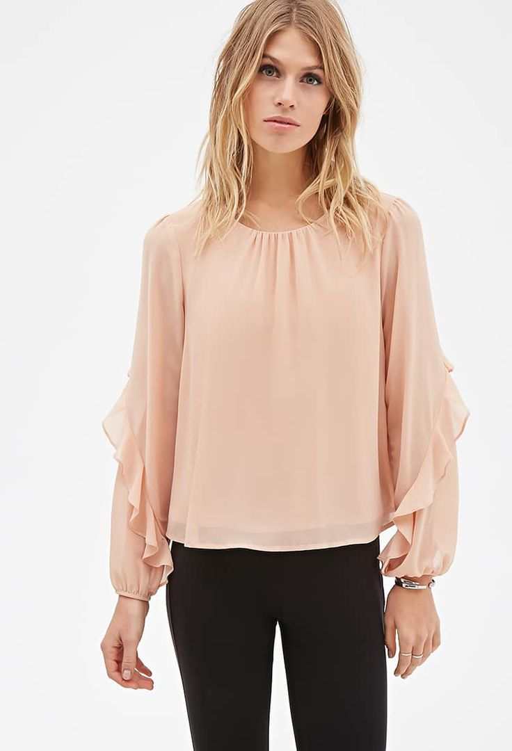 J2017  Ruffled-Sleeve Layered Blouse