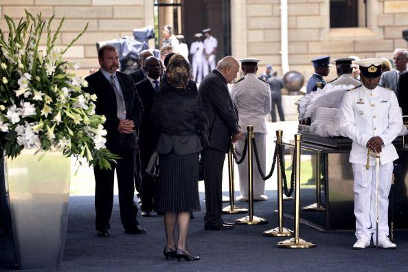 South African former apartheidera President Frederik Willem de Klerk bids farewell to South African former president Nelson Mandela lying in state at...