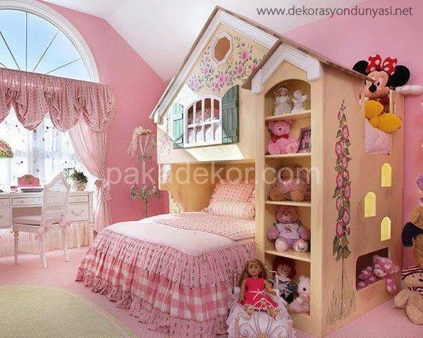 Şık duvar yazısı ile kız çocuk yatak odası dekorasyonu   Mobilya   renkleri ne kadar