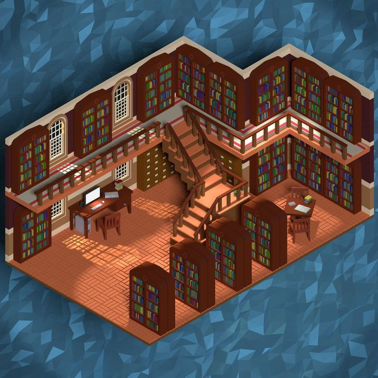 Low Poly Isometric Library by Obsidianmoon13 on DeviantArt