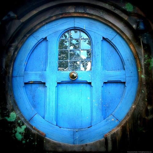 Round blue door. Hobbiton, Middle Earth [Matamata, New Zealand] Feels like the Alice in wonderland door.