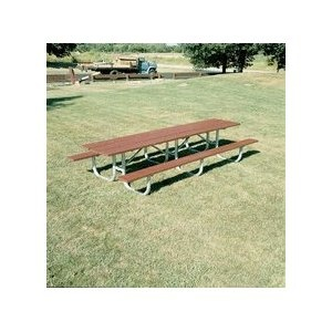 "15 Extra Heavy Duty Shelter All Welded Picnic Table With 2"" x 10"" x 15 Aluminum Planks. Frame: 2 3/8"" O.D. pipe; all MIG welded frame; walk through design¶Brace: 1 5/16"" O.D. pipe¶Hardware: all zinc plated¶Planks are made of anodized 6063-T6 extruded aluminum alloy. This table will be shipped with aluminum planks as shown in the image below.¶To order this picnic table in the 10' size, click here.¶To order this picnic table in the 12' size, click here.¶Please note that this is a freight item…"