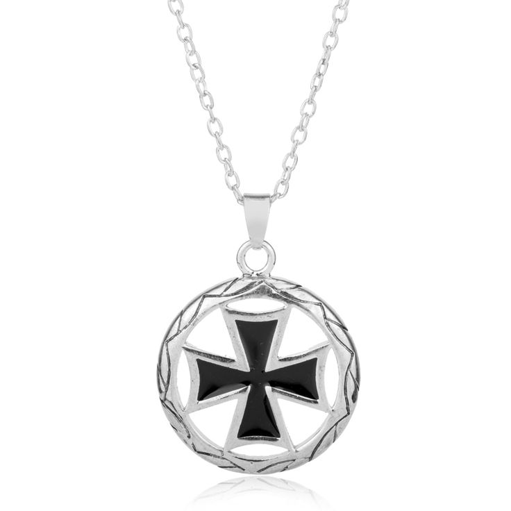 dongsheng Fashion Vnox Mens Corss Necklace Vintage Maltese Iron Cross Pendant Necklace Knights of the Temple Choker Necklace-30 #Affiliate