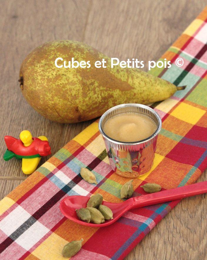 Compote de poire à la cardamome - http://www.cubesetpetitspois.fr/recette-bebe-compote-poire-cardamome/