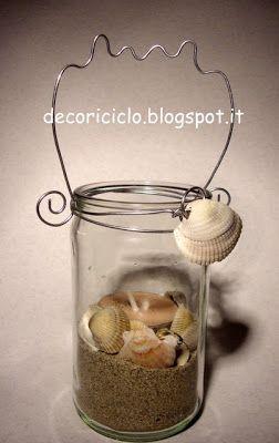 decoriciclo: Lanterna con barattolo di vetro riciclato e conchiglie