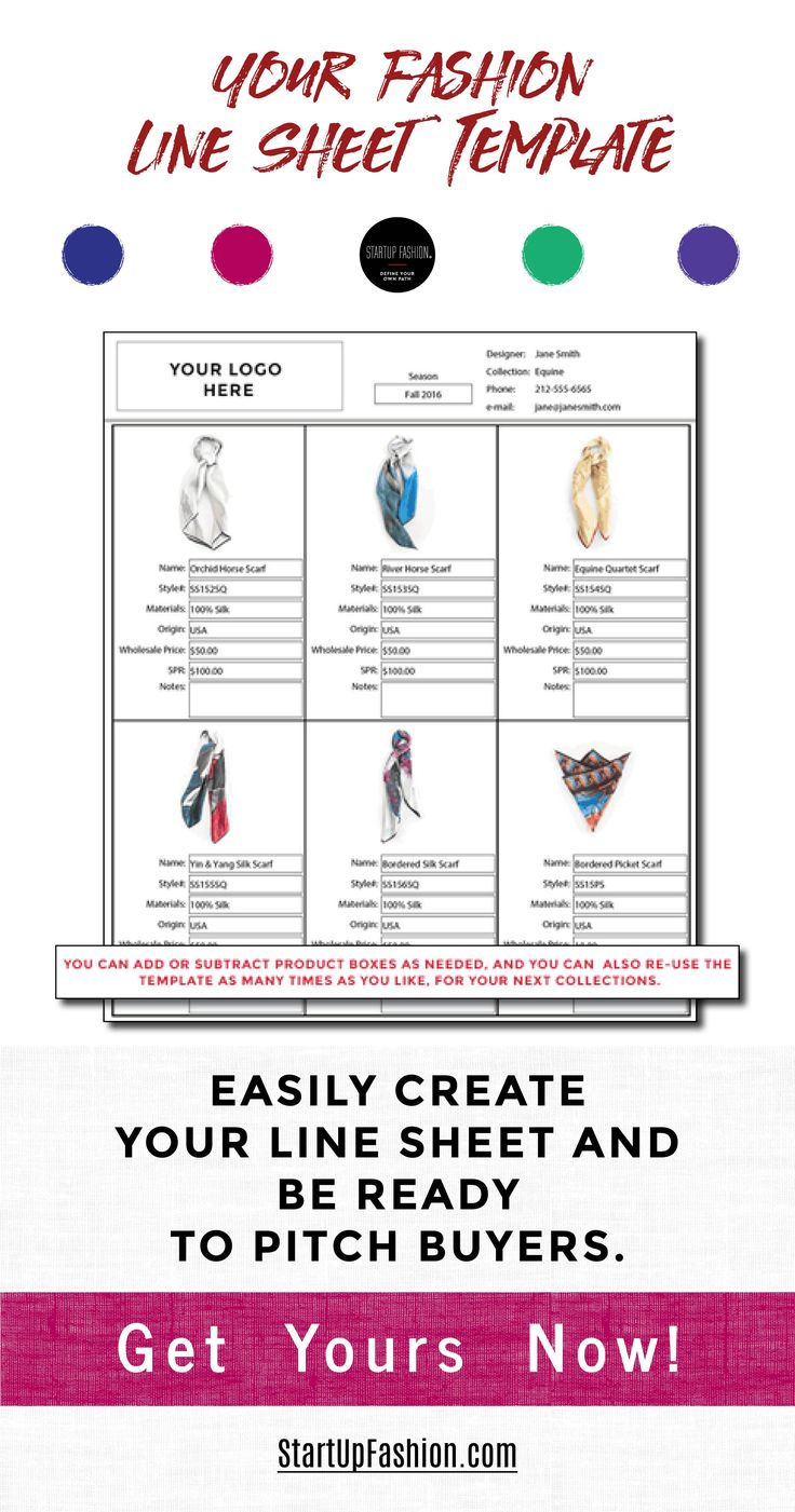 Wholesale Line Sheet Template Business fashion, Fashion