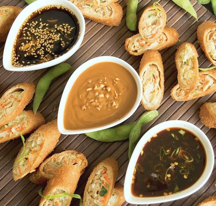 Trio of Asian Dipping Sauces Sweet honey sesame, savory peanut, and spicy soy
