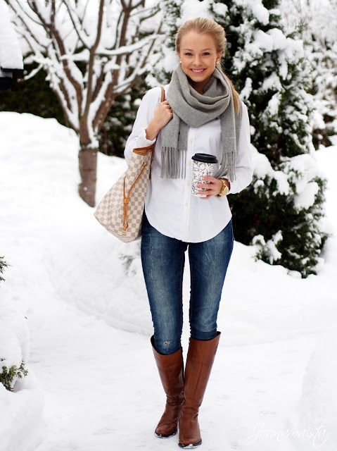 Gray scarf, white button-up, jeans, brown boots