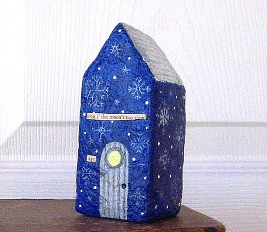 Paper Mache Art Sculpture  Chubby Little House by Fishstikks