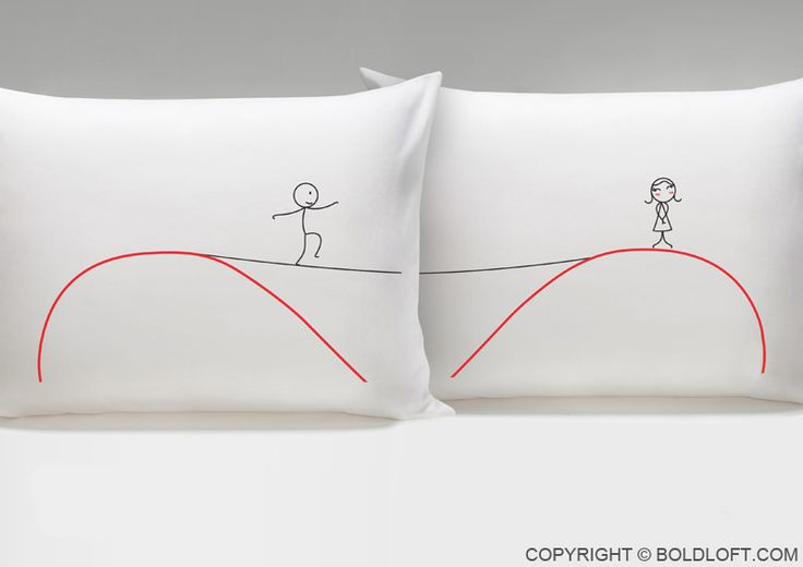 "With these adorable pillowcases, show your loved one that you'll walk the line for them! ""Even though we're far in distance and are apart, always remember we're still together and near at heart!"" BOLDLOFT®""Far in Distance"" His and Hers Couple Pillowcases. $22.99 via BoldLoft. #boldloft #longdistancerelationship #lovepillowcases"
