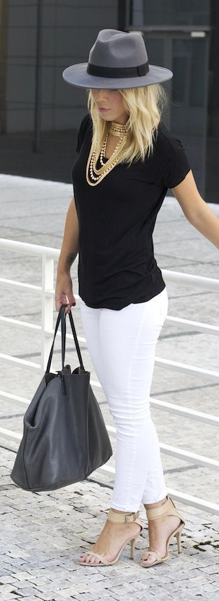 White Skinny Jeans with Black Tee and Accessories