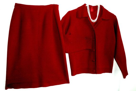 60s Red Retro Suit Knit Jersey Mod Cardigan by MushkaVintage3