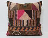 24x24 HAND WOVEN geometric pillow pink pillow cover brown pillow case giant throw pillow case 24x24 large bohemian pillow kilim pillow 19083