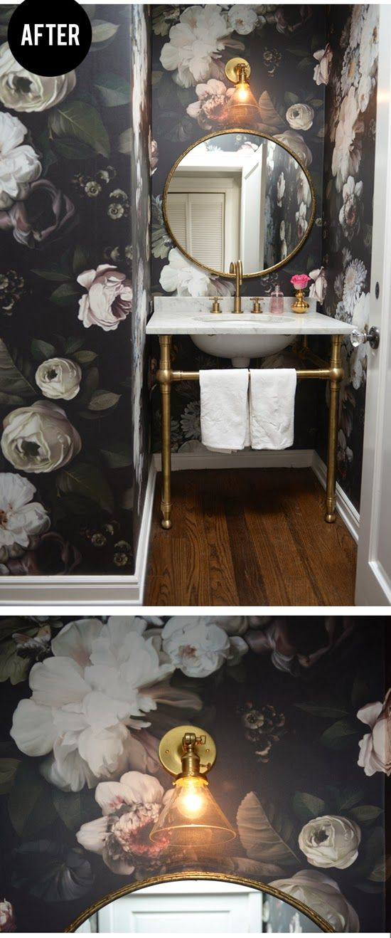 large scale floral wallpaper + brass & marble vanity