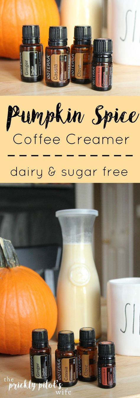 Try this healthy Pumpkin Spice Coffee Creamer! It's Dairy and Sugar Free and it's made with doTERRA Essential Oils! Plus it's great for your immune system. More recipes like this and essential oil tips on my blog @ www.thepricklypilotswife.com #doterra #pumpkinspice #recipe Whole30 - Paleo - Clean Eating