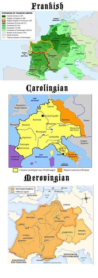 cette carte est bizarre car les mérovingiens et les carolingiens sont des Francs,même s'il y eut des mariages avec les gallo-romains..