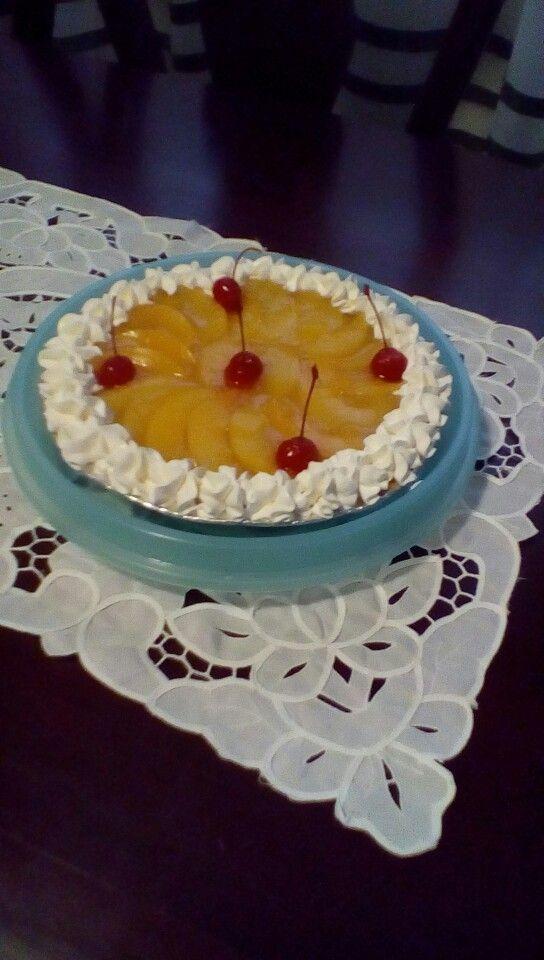 Cheese cake de melocotón suspiro y cherry