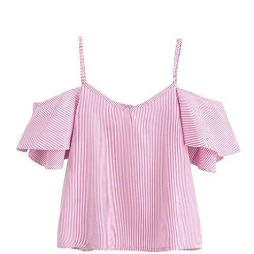 Oferta: 1.99€. Comprar Ofertas de Goodsatar Mujer Verano Casual Rayado Nylon Blusa Parte superior del hombro frío (M, Rosado) barato. ¡Mira las ofertas!
