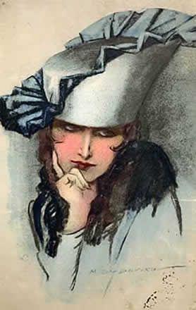 Pensierosa 1919 - cartolina http://www.marcellodudovich.it/opere.asp?idOp=441&id=4&idSub=10&idSx=23&Pag=6