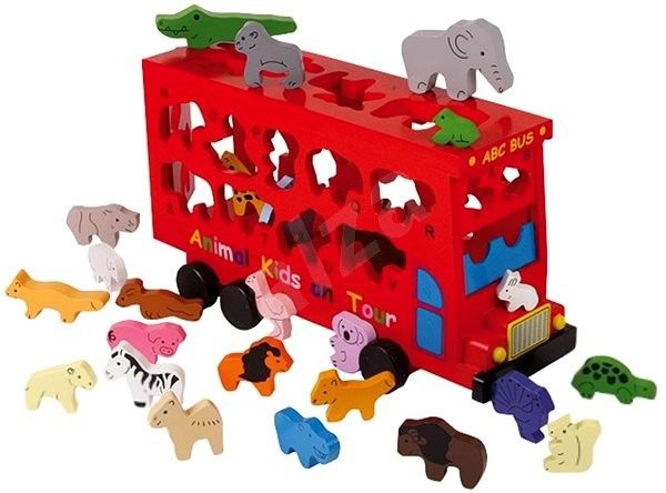 Didaktická hračka Vkládačka - Dřevěný autobus se zvířátky
