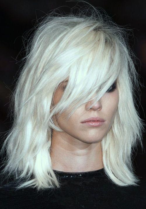 platinum blonde medium bob with fringe bangs