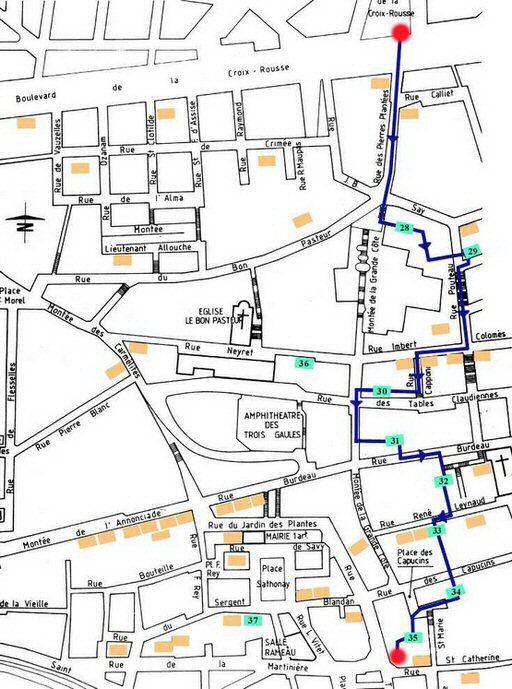 Plan du parcours Croix Rousse ouest
