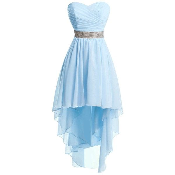 Chengzhong Sun Women High Low Lace Up Prom Party Homecoming Dresses ($42) ❤ liked on Polyvore featuring dresses, prom, cocktail party dress, blue dress, cocktail prom dress, party dresses and high low dresses