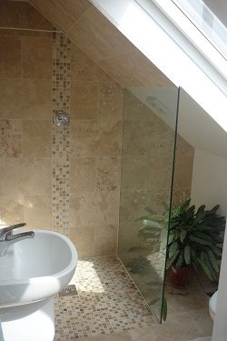 Pics Of Attic wetroom I like the bination of mosaic and regular tiles