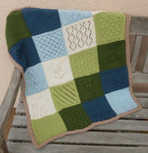 Voici le plaid pour bébé : Je l'ai tricotée en coton Paris de drops. Il m'a fallu 2 pelotes de chacune des 6 couleurs. Pour tricoter le plaid bébé, comme pour les autres tailles, il vous faudra un fil dont l'échantillon est de 20 mailles pour 10cm en...