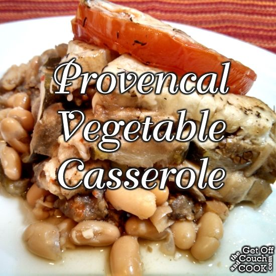 Provencal Vegetable Casserole - Summer vegetables are layered in a slow cooker with just a little seasoning and a bit of Parmesan as a satisfying side or filling vegetarian entree that doesn't heat up your kitchen.