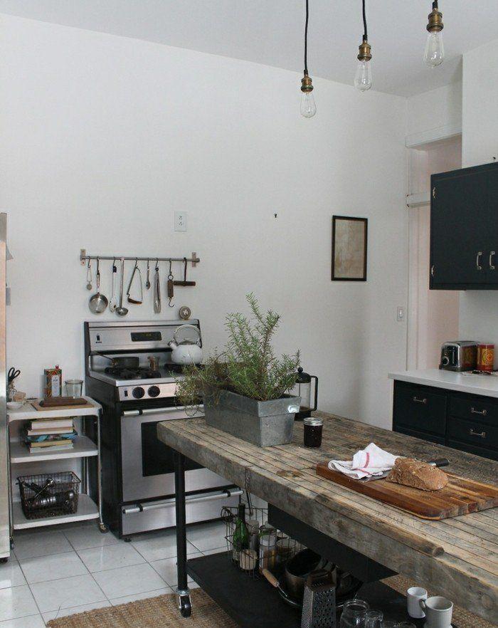 cuisine rustique ondustrielle deco ndustrielle intressante ilot cuisine en bois us et mtal