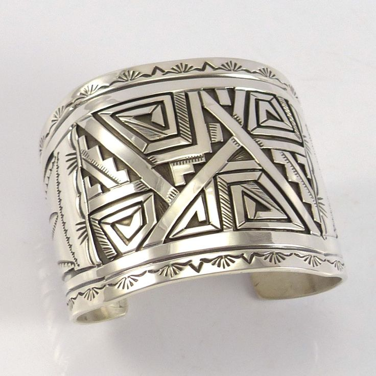 """Wide Sterling Silver Cuff Bracelet with Hand Stamped and Overlaid Geometric Designs. 2"""" Cuff Width 4.875"""" Inside Measurement, plus 1.125"""" opening (6"""" Total Cir"""