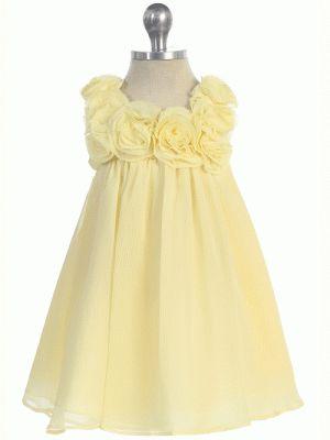 Yellow chiffon flower girl dress. http://www.justuniqueboutique.com/yellow-chiffon-dress-with-3d-rosettes.html