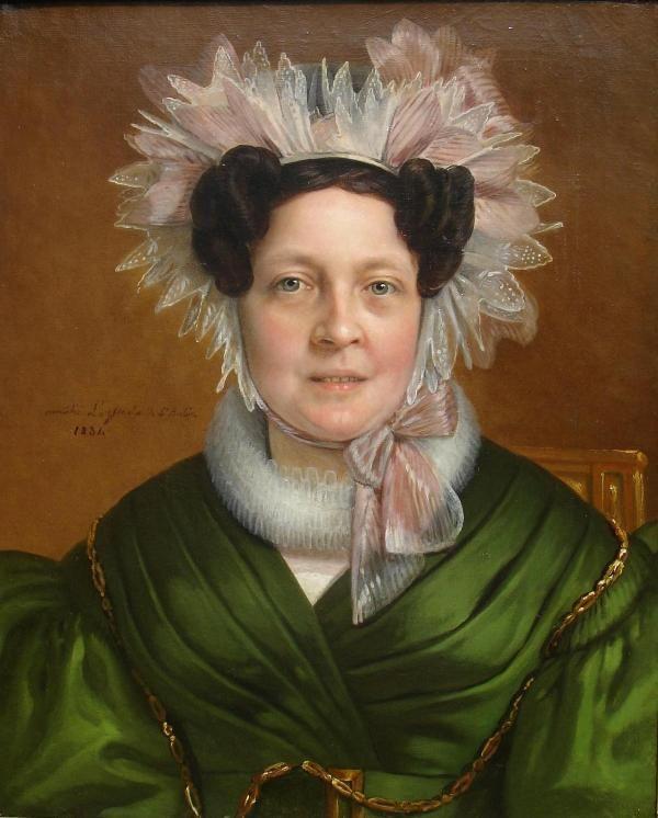 Superb Rare 19th C French Portrait Of A Lady By Artist: Amelie LeGrand De Saint Aubin Dated 1834 For Sale | Antiques.com | Classifieds