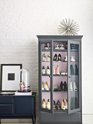 Apothecary Glass Cabinet: Create a boutique-like atmosphere by arranging your shoes in a glass-doored hutch. To figure out how many shoes the cabinet can hold, assume each pair takes up about eight inches across—then do the math.  Hemnes glass-door cabinet, $320, Ikea.com #BagStorage #ShoeStorage