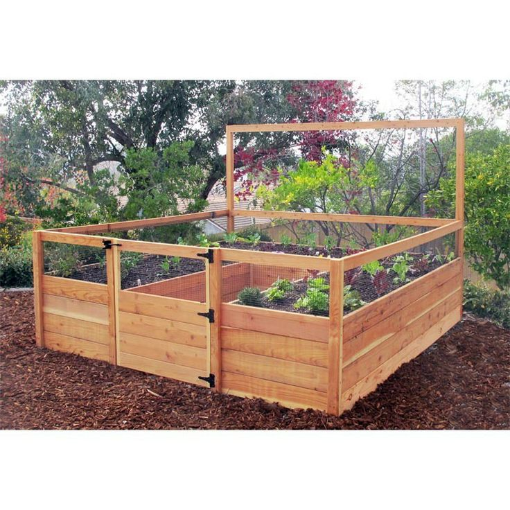 Cedar complete raised garden bed kit 839 x 839 x 20 for Raised bed garden kits