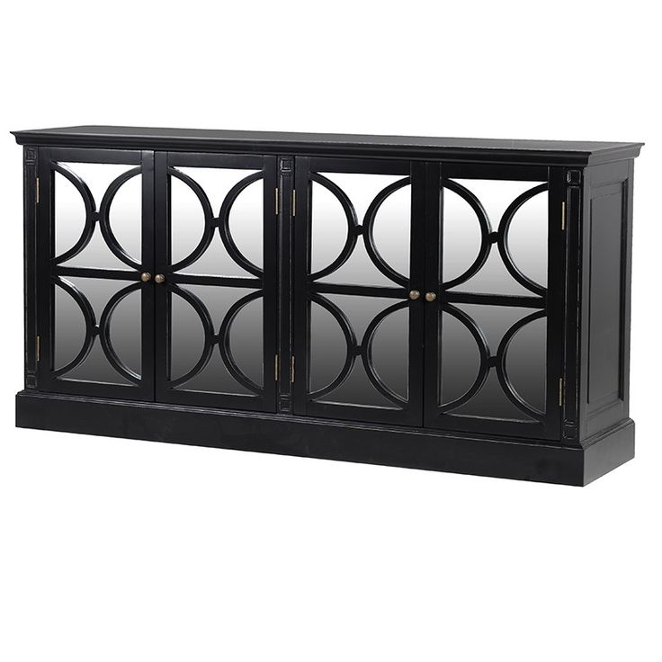 Black and mirrored sideboard with 4 doors. Elegant and sophisticated £999.99