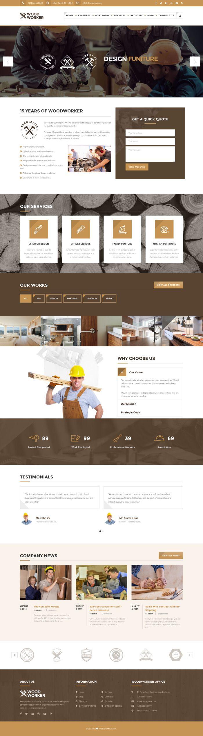 WoodWorker – Carpentry WordPress Theme