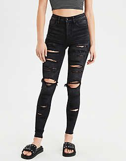 09c036ff7c AE Ne(X)t Level Super High-Waisted Jegging, Black Slash | American Eagle  Outfitters