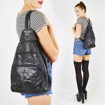 vtg 80s 90s grunge LEATHER FESTIVAL BACKPACK ameribag sling shoulder bag purse $38.00